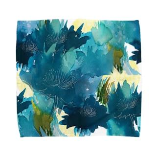 青い花_a タオルハンカチ