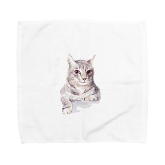 百合の筆のそんなにみつめないで!ドキドキしちゃうから♪かわいい猫のイラスト Towel handkerchiefs
