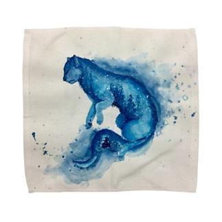 青い猫 タオルハンカチ