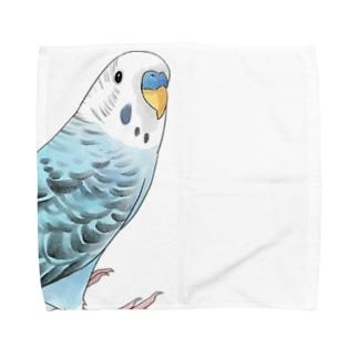 振りむきセキセイインコちゃん【まめるりはことり】 Towel handkerchiefs
