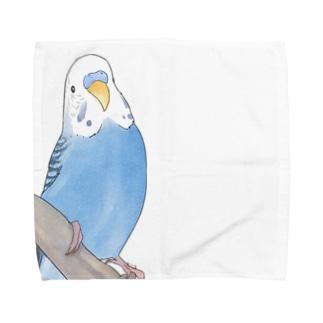 セキセイインコちゃんと止まり木【まめるりはことり】 Towel Handkerchief
