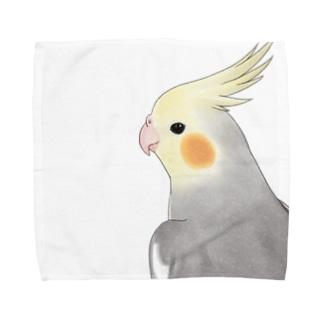 見つめるオカメインコちゃん【まめるりはことり】 Towel handkerchiefs