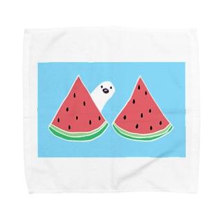 スイカと白文鳥(青空) Towel handkerchiefs