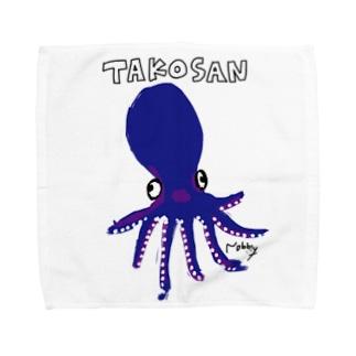 タコさんソロダンス(青) Towel handkerchiefs