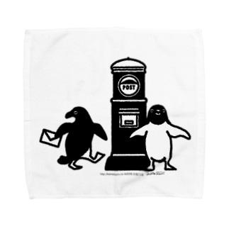 アデリーペンギンお手紙だす タオルハンカチ