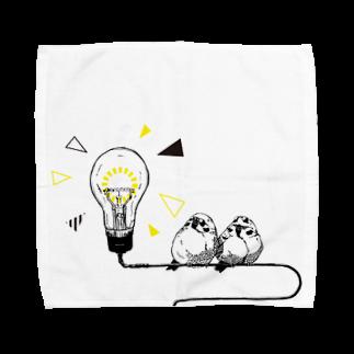 Pev1/4の電球とスズメ Towel handkerchiefs