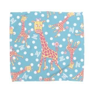 キリンだらけ -pastel- Towel handkerchiefs