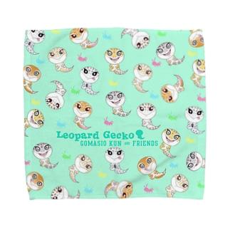 おすわりレオパラダイス(グリーン) Towel handkerchiefs