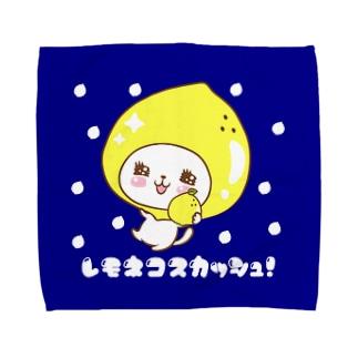 レモねこスカッシュ!ネイビー水玉 Towel handkerchiefs