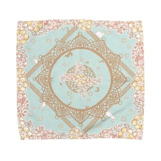 木綿レースと白うさぎ Mint Towel Handkerchief
