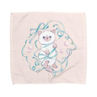 ぐるぐる子猫 Beige Towel Handkerchief