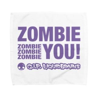 Zombie You!(purple print) タオルハンカチ