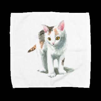 山田理矢の白三毛子猫 Towel handkerchiefs