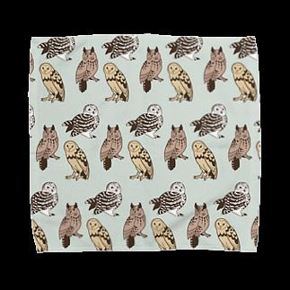 ななめやの三羽フクロウ Towel handkerchiefs