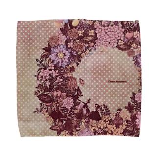 幸せのリース<ピンクセピア> Towel Handkerchief