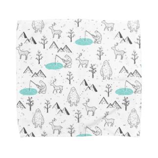 イエティと鹿 Towel handkerchiefs