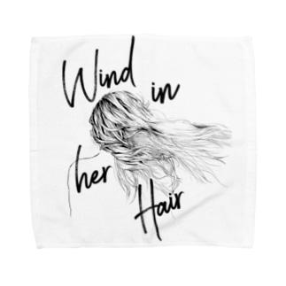 WIND IN HER HAIR Towel handkerchiefs