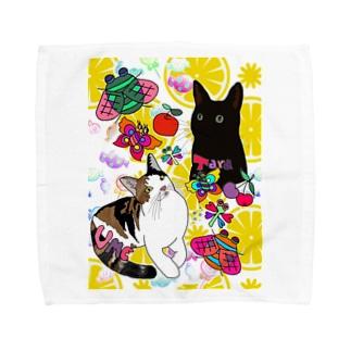 タラ&ウメちゃん💝🤗❤️🐱 Towel handkerchiefs