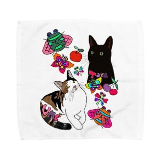 タラ&ウメちゃん🐱💝🎉 Towel handkerchiefs