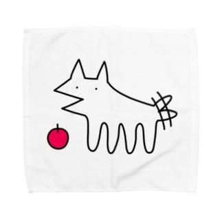 犬とりんご タオルハンカチ