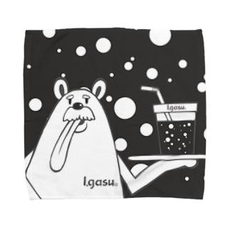 I.gasu peachbear black 【アイガス】 Towel handkerchiefs