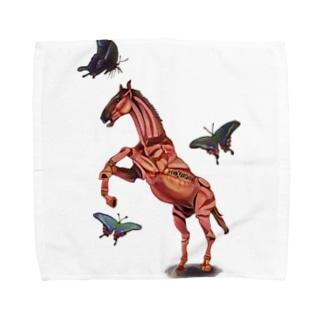 馬と蝶 タオルハンカチ
