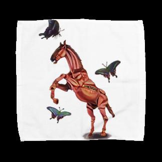 波田野剛望(はたのたけみ)の馬と蝶 Towel handkerchiefs