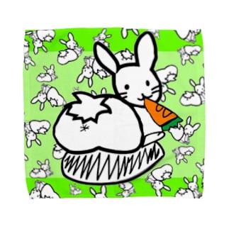 カオスうさぎ:緑(L用) Towel handkerchiefs