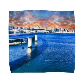 東京の夜景(レインボーブリッジ夕日) Towel handkerchiefs