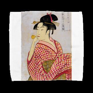dohshinの喜多川歌麿『 ポッピンを吹く女 』 Towel handkerchiefs