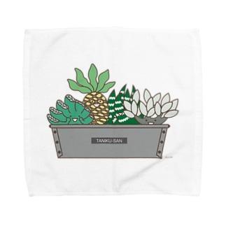多肉植物たにくさん(パウンドケーキ型に集合) Towel handkerchiefs