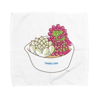 多肉植物たにくさん (小鉢に集合) Towel handkerchiefs