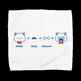 チョッちゃんのネコ+ヒゲ+メガネ タオルハンカチ