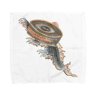 百鬼夜行絵巻 鉦鼓の付喪神【絵巻物・妖怪・かわいい】 Towel handkerchiefs