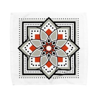 モロッカンに憧れるタイル柄・ブラック×オレンジ Towel handkerchiefs