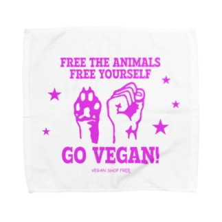 FREE THE ANIMALS/YOURSELF(PINK) Towel handkerchiefs