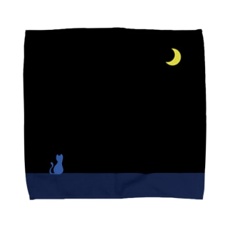 a-noのmoon & blue cat Towel handkerchiefs