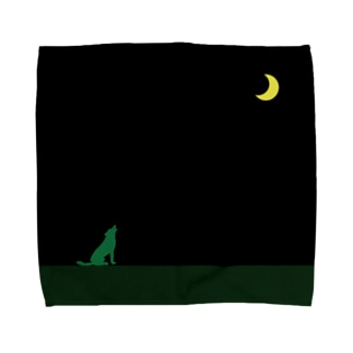 moon & green wolf Towel handkerchiefs