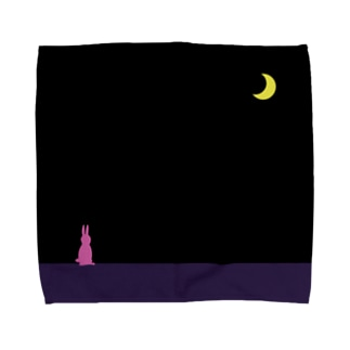 a-noのmoon & pink rabbit Towel handkerchiefs
