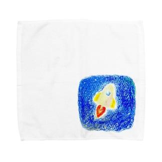 しろのロケットで宇宙へ Towel handkerchiefs