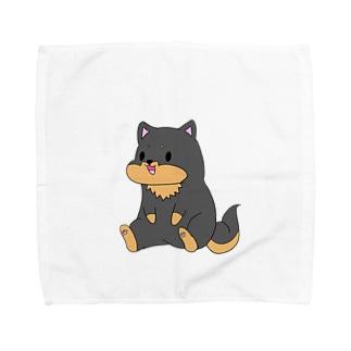 ちょこんとおすわり黒柴 Towel handkerchiefs