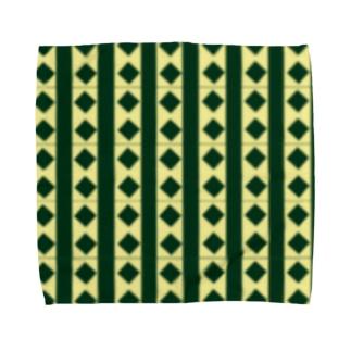 緑×クリームチェック Towel handkerchiefs