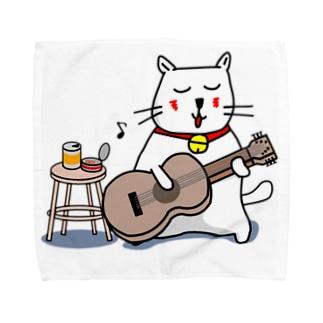 白猫のネコ先輩 ギターぽろろん Towel handkerchiefs