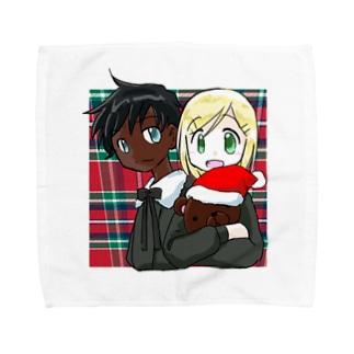 黒白クリスマス タオルハンカチ
