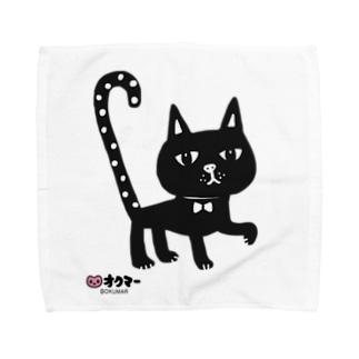 水玉しっぽの黒猫ちゃん タオルハンカチ