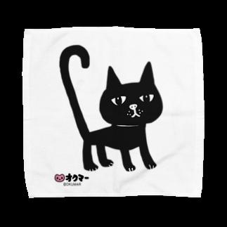オクマーSUZURIショップのまっくろ黒猫ちゃんタオルハンカチ