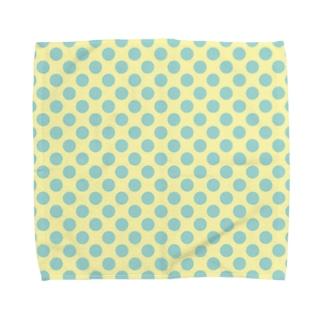 水玉 青緑+背景卵色 Towel handkerchiefs