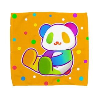 【虹色HAPPYレインボー】「にじパンダ」(オレンジ) タオルハンカチ