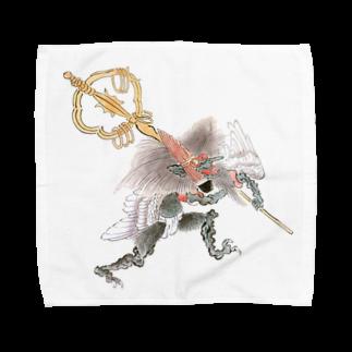和もの雑貨 玉兎の百鬼夜行絵巻 笙の付喪神【絵巻物・妖怪・かわいい】 Towel handkerchiefs
