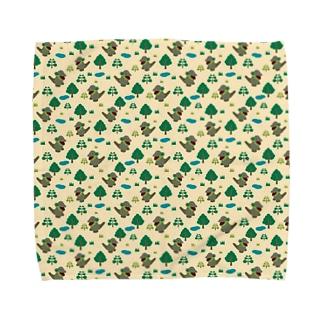 モッコメリアンパターン-緑 タオルハンカチ